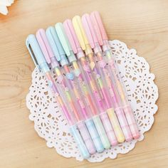 Cute colored gel pens 6 colors roll pen for kids Kawaii stationery Escolar office material school supplies Stationery Pens, School Stationery, Kawaii Stationery, Stationery Store, Chalk Pens, Gel Ink Pens, Paint Pens, Highlighter Pen, Highlighters