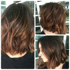 Dark brunette with warm caramel balyage. Hair by Chrissy Hammontree at 315 NE 3rd Ave #101 Studio 2 Fort Lauderdale, FL 33301