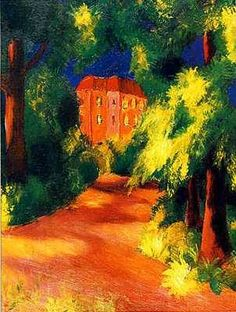 ۩۩ Painting the Town ۩۩ city, town, village & house art - August Macke. Red House