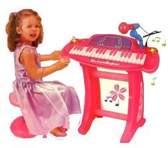 """Set size in inches: 20""""x9""""x8"""" Package Includes: Pink Electric Piano Keyboard Microphone Stand (for the electric piano) Chair You are viewing a brand new Pin"""