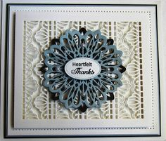Hi bloggers! Here is a card that could be used for just about any occasion or any person.  I started by cutting the decorative die from the Rippled Striplet into a piece of coconut white card. I c