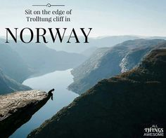 Sit in the edge of Tolltung Cliff in Norway