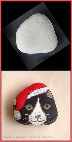 Before and After Painted Rocks: Christmas Holiday