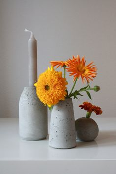 selfmade concrete vase and candle holder
