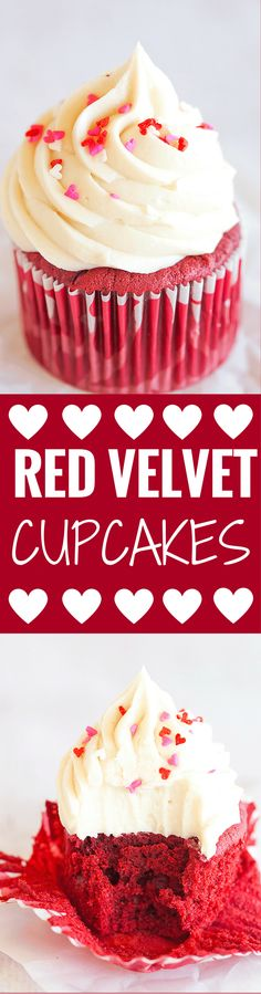 Red Velvet Cupcakes with Cream Cheese Frosting - A moist, fluffy cupcake with a luscious frosting. Don't wait for Valentine's Day to make these!