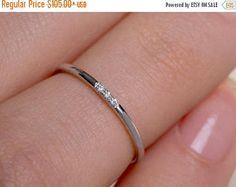 Navidad en julio ventas fino anillo de diamante, banda con 3 diamantes, diamante banda anillo, anillo de flaco, 1 mm anillo de la venda, venda de boda fina, oro Sta