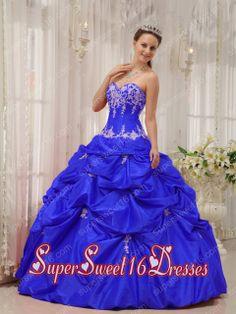 Blue Ball Gown Simple Sweetheart Floor-length Taffeta Appliques Sweet Sixteen Dresses