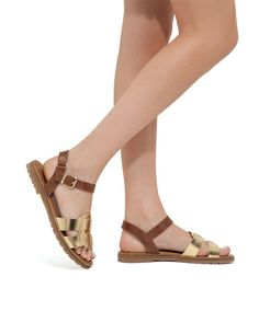 Marci Sandals in Gold and Brown