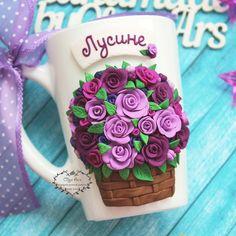 Δεν διατίθεται αυτόματο εναλλακτικό κείμενο. Cute Mug, Polymers, Cold Porcelain, Polymer Clay, Mugs, Embroidery, Tableware, Crafts, Craft