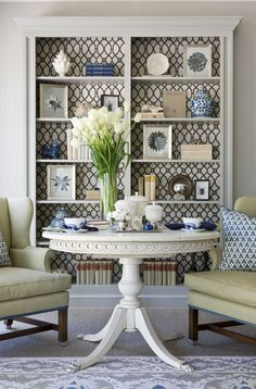 paint and wallpaper bookcase for family room/living room Love the design on the back of the shelves. My Living Room, Home And Living, Living Spaces, Modern Living, Small Living, Wallpaper For Living Room, Living Room Bookcase, Coastal Living Rooms, Wallpaper Bookcase
