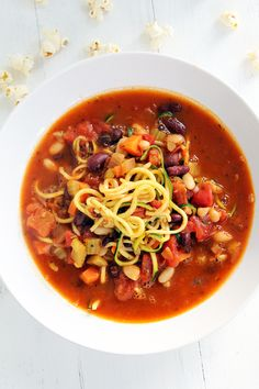 Minestrone Zucchini Noodle Soup with Parmesan-Rosemary Quinn Popcorn