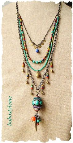 Bohemian Beaded Jewelry Colorful Layered Necklace Modern