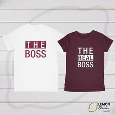 33cd135ea The Boss The Real Boss, Price for 1 shirt, Couple matching T-shirt set Boss  Couple gift Just married Wedding gift Anniversary shirts