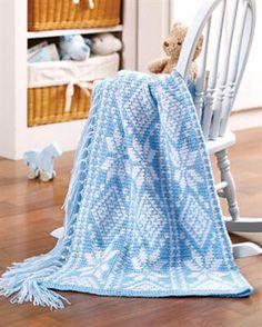 Baby Snowflakes Fair Isle Afghan by Karen Ratto-Whooley. Leisure Arts, Fair Isle to Crochet.