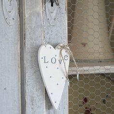 """Wooden Polka Dot """"love"""" Hanging  Heart-White"""