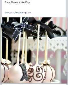Paris theme cake pops