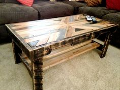 Pallet Coffee Table with Patterned Top - 130+ Inspired Wood Pallet Projects | 101 Pallet Ideas