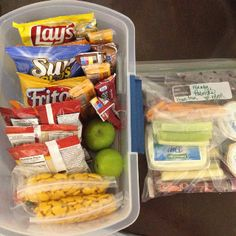 """I'm thinking ill have a """"pantry"""" tote in the back of the car, along with the big cooler, but then keep a day's supply of cold drinks and snacks up front in a smaller bin and cooler. That way we can make sure everyone is getting a balanced diet, including fruits, veggies, and dairy, instead of just a bunch of salty and sweet carb junk food."""