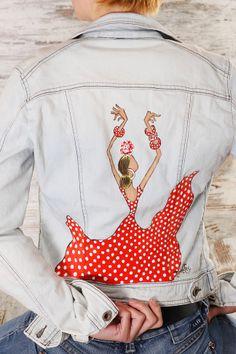Chaqueta vaquera con motivo en la espalda de flamenca pintada artesanal #yoflamenca #yosoymujerconarte http://mujeresconarte.com/buscar?controller=searchorderby=positionorderway=descsearch_query=CHAQUETAsubmit_search=Buscar