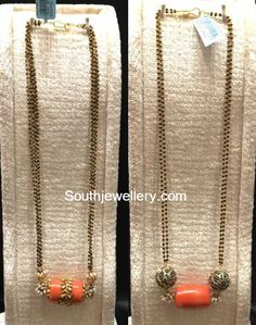 Black Beads Mangalsutra Chains with Coral Bead Pendants - Indian Jewellery Designs Indian Jewellery Design, Bead Jewellery, Indian Jewelry, Beaded Jewelry, Jewelry Design, Antique Jewellery, Gold Necklace Simple, Long Pearl Necklaces, Gemstone Necklace