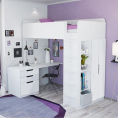 Kids High Sleeper Bed with Wardrobe, Desk and Bookcase , Loft Beds For Small Rooms, Loft Beds For Teens, Bed For Girls Room, Low Loft Beds, High Beds, Teen Loft Bedrooms, Girl Loft Beds, Bedroom Ideas For Small Rooms For Teens For Girls, Cute Bedding For Teens
