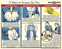 Infographic : 3 ways to escape zip ties. 3 ways to escape zip ties. By Asmonymous Information graphics, visual representations of data known as Survival Life Hacks, Camping Survival, Survival Prepping, Emergency Preparedness, Survival Skills, Survival Gear, Urban Survival, Homestead Survival, Survival Watch