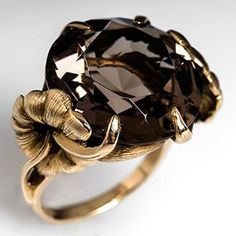 14 Carat Smoky Quartz Cocktail Ring Floral Motif 14K Gold