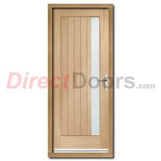 Image of Trieste External Oak Door and Frame Set with Obscure Double Glazing