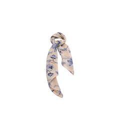 Lenço Floral Bege e Azul de Satin#lenços #lenço #scarf #scarfs