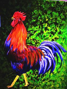 This is an original painting of a rooster. Just a note - the purple color is actually a navy blue but the camera refused to reflect the correct shade. It was painted onto canvas paper using acrylics. Paintings For Sale, Original Paintings, Canvas Paper, Beautiful Birds, Rooster, Jewels, The Originals, Artwork, Animals