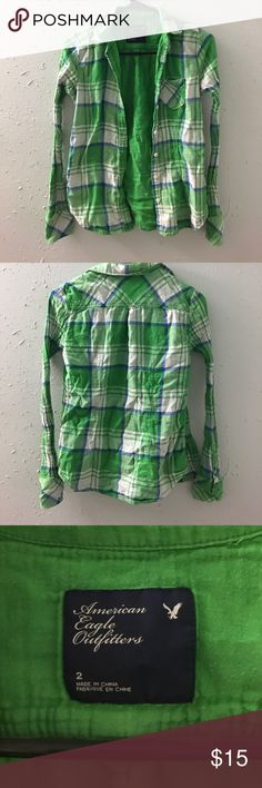 American Eagle button up Green plaid American eagle button up long sleeve shirt. American Eagle Outfitters Tops Button Down Shirts