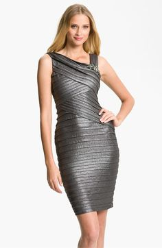 Xscape Asymmetrical Pleated Jersey Sheath Dress available at Nordstrom