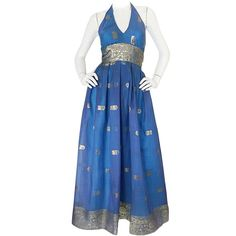 1960s Backless Blue & Gold Sari Inspired Silk Dress | See more vintage Evening Dresses and Gowns at https://www.1stdibs.com/fashion/clothing/evening-dresses in 1stdibs