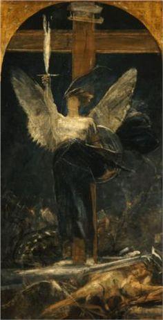 Archangel, study for the Foundation of Faith - Nikolaos Gyzis 1895 Art Nouveau, Greece Painting, Archangel Michael, Greek Art, Angels And Demons, Art Database, Angel Art, Cherub, Illustrations