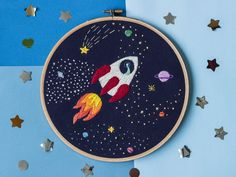 Dinosaur in outer space Embroidery Hoop art Rocket sheep in starry sky Hand embroidered wall art 8 inches hoop - Whirlpool Galaxy-Andromeda Galaxy-Black Holes Embroidery Hoop Art, Hand Embroidery Patterns, Cross Stitch Embroidery, Cross Stitch Patterns, Embroidery Designs, Embroidery Letters, Outer Space, Etsy, Couture