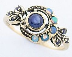 GOLD SAPPHIRE, OPAL MOON RING. This beautiful Vintage inspired ring has been crafted in 9ct Solid Gold at GTJewellers