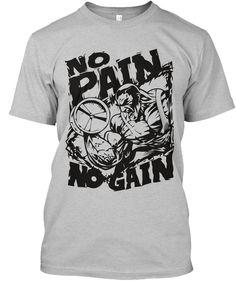 No Pain No Gain Gym T Shirts. Light Heather Grey  T-Shirt Front