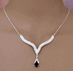 Black Drop Rhinestone Crystal Bridal