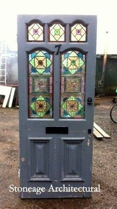 ORIGINAL VICTORIAN EDWARDIAN EXTERNAL FRONT DOOR WITH STAINED GLASS