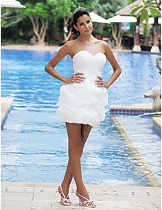 Lan Ting Ball Gown Plus Sizes Wedding Dress - Ivory Short/Mini Sweetheart Satin