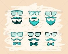 Beards, Mustaches, Glasses and Bows Print