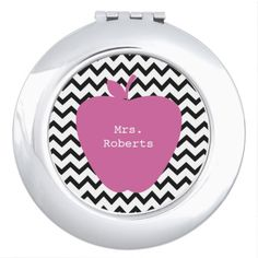 Pink Apple Chevron Teacher Compact Mirror from The Pink Schoolhouse