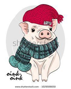 Vector pig with red knitted hat and scarf. Hand drawn illustration of dressed piggy: купите это векторное изображение на Shutterstock и найдите другие изображения.