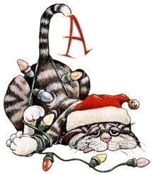 Oh my Alfabetos!: Alfabeto navideño animado de gato enredado en las luces.