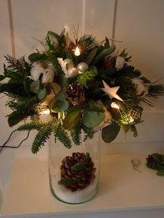 Even vlug ,tussen alle drukte door ,een ideetje voor een kerststuk.         Als je bovenop een glazen vaas een waterschotel zet ,en da...
