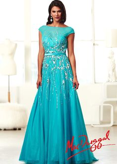 Mac Duggal 10011H - Turquoise Cap Sleeve Ball Gown Prom Dresses Online #thepromdresses