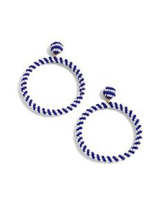 Lyst - J.crew J.crew Beaded Drop Hoop Earrings in Blue