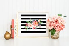 Thanks for stopping by! Black and White Stripes, Watercolor Flower Bouquet Botanical Print 8x10 Instant Download Included with this