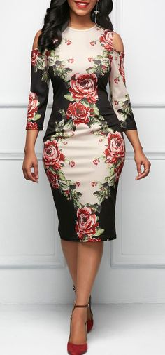 Three Quarter Sleeve Cold Shoulder Flower Print Dress
