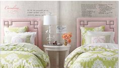 pink and green; cute color scheme for a little girl when toned down